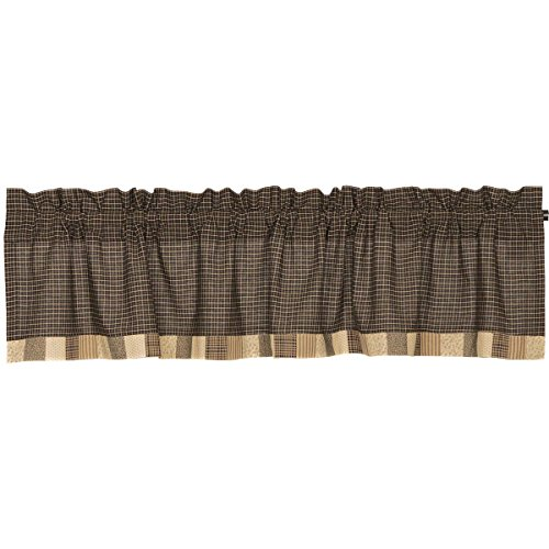 VHC Brands Kettle Grove Block Border Valance 16x72 Country Curtain, Country Black