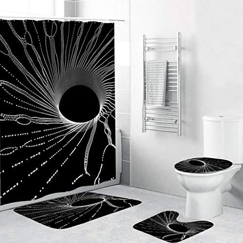 Scrolor rutschfeste WC-Matte Set 4 STÜCKE Duschvorhang Teppich für Badezimmer Magie Vast Universum Sternenhimmel Einzigartiges Design Polyester PVC Abdeckung(Polyesterfaser,Wie Gezeigt)