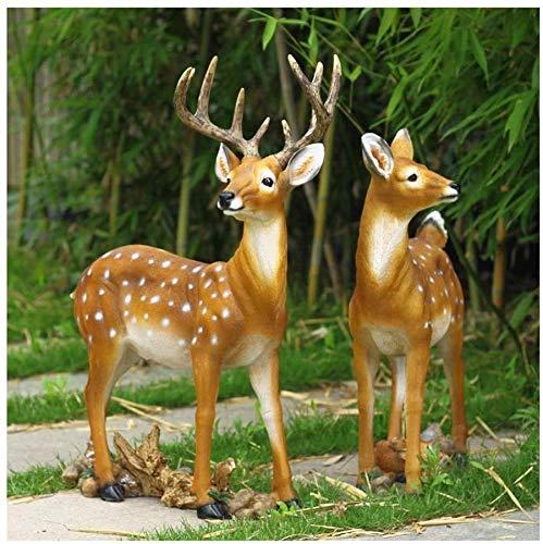 WZX Sika Deer Animal Escultura Jardín al Aire Libre Artesanía Decoración Césped Estatua Ornamento
