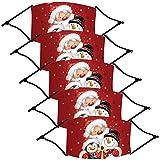 Byeel 5 Stück Erwachsene Schneemann Weihnachten Bedruckte Mundschutz Winter mit Motiv Atmungsaktiver Stoff Waschbar Wiederverwendbar Mund-Nasenschutz Halstuch
