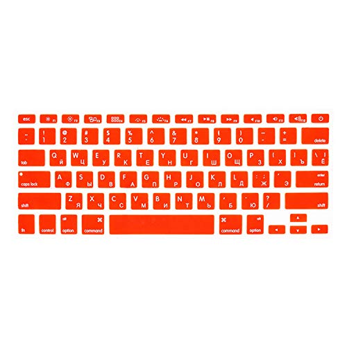 Nonovel US Russian Language Letter Silicone Keyboard Cover Sticker for MacBook Air 13 Pro 13 15 17 Retina Protector Film-Orange-