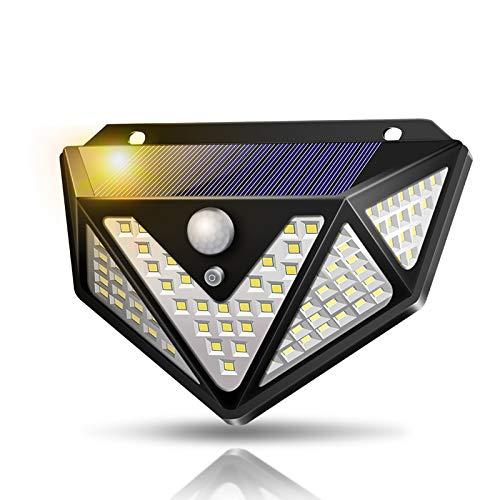 Luce Solare Led Esterno,【Nuovo design nel 2020】109 LED a energia solare per esterni,Lampada Solare Esterno con Sensore di Movimento Luci Esterno Energia Impermeabile per Giardino,Parete