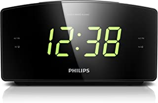 Philips AJ3400 Wake-Up Alarm Clock with Radio for Bedside or Kitchen, Big Display, Dual Alarm, Brightness Setup, Battery B...