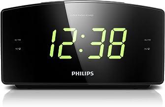 Philips AJ3400 Wake-Up Alarm Clock with Radio for Bedside or Kitchen, Big Display, Dual Alarm, Brightness Setup, Battery B...