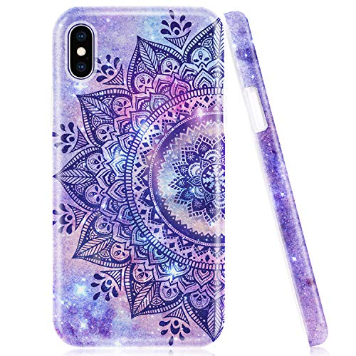 Emogins iPhone X Case, iPhone Xs Case, Phone Case for Apple with Lanyard Strap, Soft Silicone Protective Cover with Purple Mandala Design for Women Girls