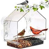 CNCBT Comederos de Aves para el Exterior, Alimentador de pájaros de acrílico Transparente de acrílico Jaula de pájaros de Mascotas alimentador del pájaro Acrílico