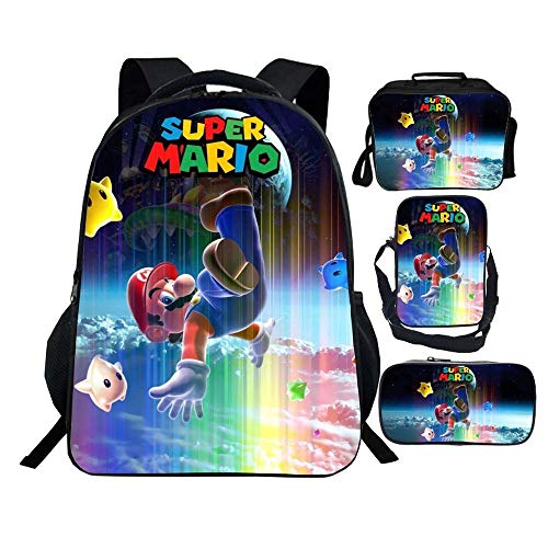 Kinder Rucksäcke Vier Stücke - 3D-Mario-Karikatur Druckte Kind-Schule-Beutel-Rucksack + Lunch Bag + Umhängetasche Bag + Mäppchen Kombi-Paket