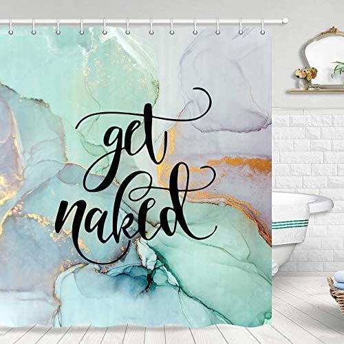 JAWO Get Naked Duschvorhang, Get Naked mit weißem Blaugrünem Marmor, bunt, lustig, modischer Stoff, Duschvorhanghaken, 177,8 cm