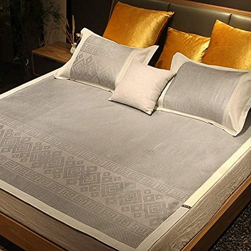 Estera de bambú Estera para dormir de verano Matear de verano Seda de seda de seda, estera y funda de almohada, doble acondicionamiento de aire acondicionado doble, ropa de cama de verano, plegable, c