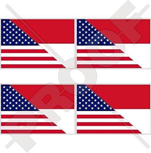 USA Vereinigte Staaten von Amerika und INDONESIEN, Amerikanisch und Indonesische Flagge, Fahne 50mm Auto & Motorrad Aufkleber, x4 Vinyl Stickers