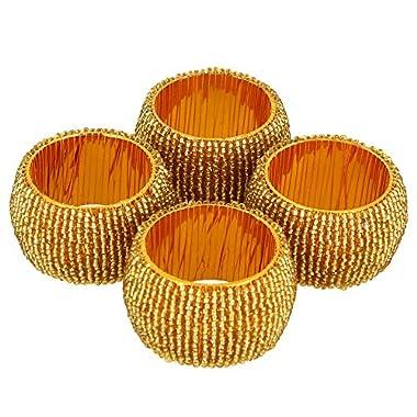 Handmade Indian Gold Beaded Napkin Rings - Set of 4 Rings