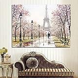 Ciudad Pareja París Torre Eiffel Paisaje Pintura al óleo sobre lienzo Poster Print Wall Picture Living Room Frameless