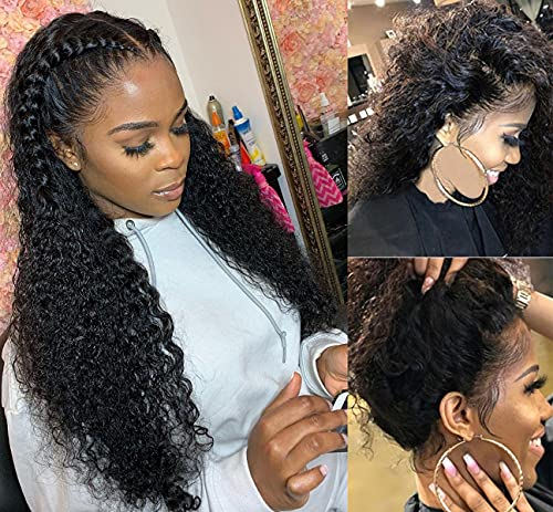 Brazilian Deep Wave Lace Front Wigs Human Hair for Black Women HD Transparent Lace Frontal Wigs Virgin Hair Pre Plucked with Baby Hair 16 Inch Glueless Natural Hairline Curly Wigs Wet and Wavy Lace Front Wig