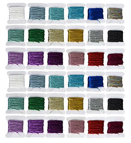 Embroidery Floss Metallic Embroidery Thread Sets -Cross Stitch Threads - Friendship Bracelets Floss - Crafts Floss - 36 Bobbins for Embroidery Embellishment Stitching or Hand Needlework Decorative