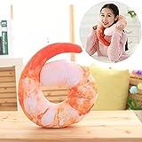Fenghong Kissen, Shrimps U-Form Kreatives Dekokissen Plüsch Nackenkissen Komfortabel weich