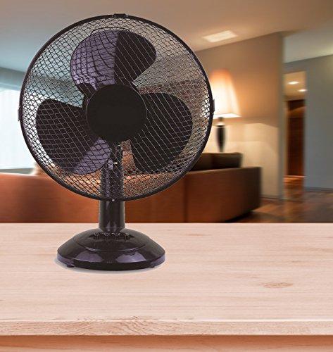 FRX Moderner Ventilator Standventilator Tischventilator Windmaschine Standlüfter (Schwarz)