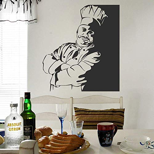 Eco Friendly Self Catering Kitchen Chef Bust Pegatinas de pared decorativas Calcomanías murales Kitchen Vinyl Wallpaper 57X65Cm