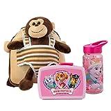 Mochila Infantil con Peluche extraíble de Mono MAX, Fiambrera y Botella de la Patrulla Canina, Color Rosa, Ideal para la guardería o para excursiones Familiares.