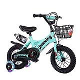 FUFU 12' 14' Bicicletas De Niños, Adecuado For Niños Y Niñas De 2-5 Años De Edad con Ruedas De Entrenamiento, Freno De Mano, Auxiliar Ruedas (Color : Green, Size : 14in)