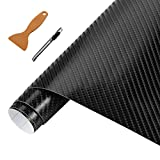 NewL - Rollo de vinilo de fibra de carbono 3D, apto para uso exterior en automóviles, cúter de 30 cm x 150 cm + herramienta de mano