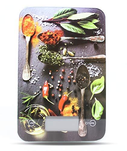 Küchenwaage digital Electronische design Waage mit LCD Display Digitalwaage mit Tara Funktion Einheiten Taste für g, kg, lb, oz, Farben wählbar bis 5 KG Aufhänger als Wanddeko Glasbild (Design Chilli)