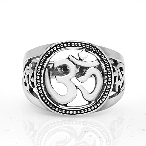 Sterling Silver Aum Om Ohm Sanskrit Yoga Meditation Filigree Unisex Round Band Ring 6