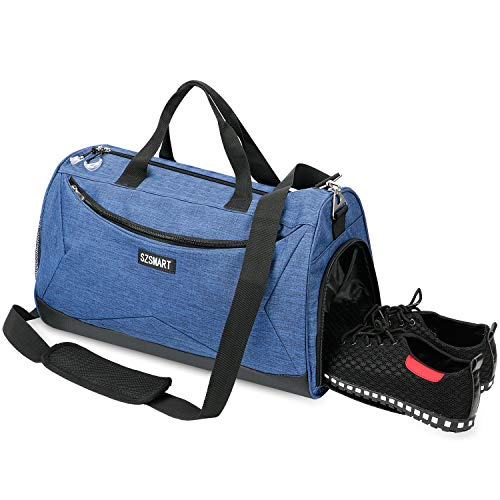 SZSMART Sport Gym Bag with Shoe Compartment & Wet Pocket Travel Duffel Bag for Men and Women