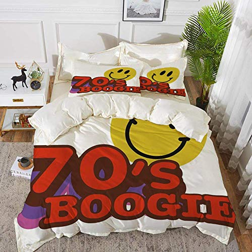 70s Party Decorations,70s Boogie Funny Smiling Emoticon Humorous Amusing Vibrant Decora,Hypoallergenic Microfibre Duvet Cover Set 230 x 220cm with 2 Pillowcase 50 X 80cm