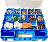 HOME4 Double Sided No BPA Toy Display Storage Container Box - Compatible with Mini Toys, Small Dolls, Tools Beyblade - Heavy Duty Organizer Carrying Case - 34 Adjustable Compartments