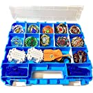 HOME4 Double Sided BPA Free Toy Storage Container - Compatible with Beyblade, Mini Toys, Small Dolls - Toy Organizer Carrying Case - 34 Adjustable Compartments
