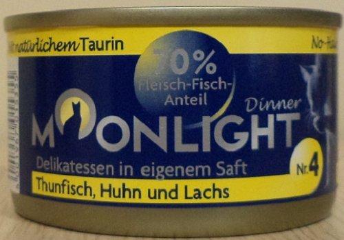 12x80g Moonlight Dinner Katzenfutter Dosen Nassfutter (Nr.4 Thunfisch Huhn Lachs)