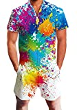 Men's Guy Rompers One Piece Short Sleeve Paint Party Jumpsuit Gay Pride Graffiti Outfits Hawaiian Pants Custom Holiday Beach Tie Dye Overalls