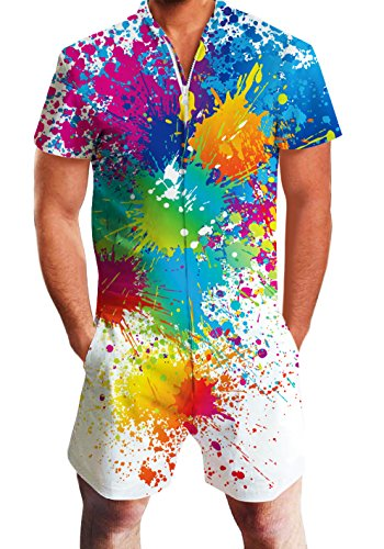 Men's Gay Rompers One Piece Guys Short Sleeve Party Paint Jumpsuit Outfits Tie Dye Custom Beach Overalls Large