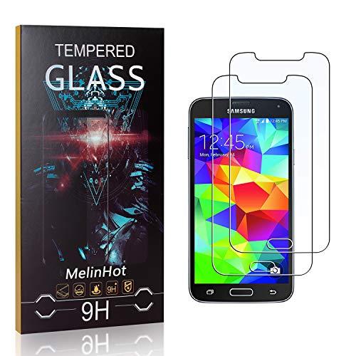 Displayschutzfolie für Galaxy S5, MelinHot Blasenfrei Schutzfilm aus Gehärtetem Glas für Samsung Galaxy S5, 9H Härte, Kratzfest, 99% Transparenz, 2 Stück