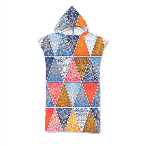 Los Vestidos de Playa de Sochampion Son Ligeros y fáciles de Usar para secar la Ropa de los Batas de Surf. Toalla de Playa Poncho de Microfibra. Figura geométrica No. 1 110cmX75cmX30cm