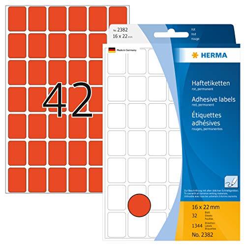 HERMA 2382 Vielzweck-Etiketten mini (16 x 22 mm, 32 Blatt, Papier, matt) selbstklebend, permanent haftende Haushaltsetiketten zur Handbeschriftung, 1.344 Haftetiketten, rot