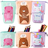 3 Pieces Transformer Stand Store Pencil Holder Canvas Telescopic Pencil Cases Cartoon Zipper Pencil Pouch Dual-Use Stand Pen Case Box Storage Stationery Bags (Pig, Bear, Unicorn)