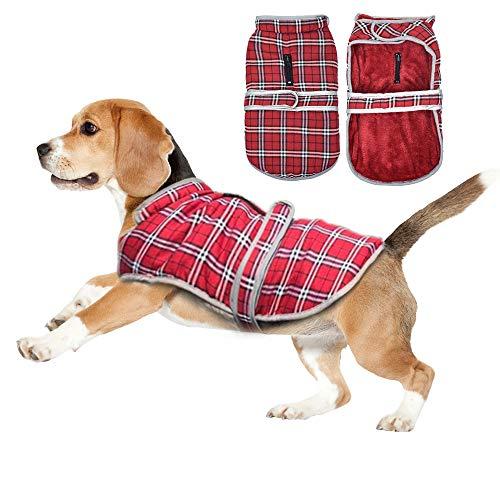 Eastlion Winter Hundemantel Warm Kariert Hundejacke Hunde Kleidung Bekleidung Weste mit Geschirr für Kleine Mittelere und Große Hunde,Rot,S