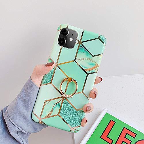 Saceebe Compatible avec iPhone 11 Coque Silicone Motif Géométrique Marbre Housse Etui avec Anneau Support Bague Glitter Paillette Brillant Strass Ultra Fine Fille Case,Vert
