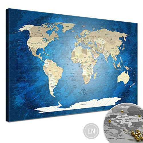 """LANA KK - Weltkarte Leinwandbild mit Korkrückwand zum pinnen der Reiseziele – """"World Map Blue Ocean"""" - englisch - Kunstdruck-Pinnwand Globus in blau, in 100x70cm"""
