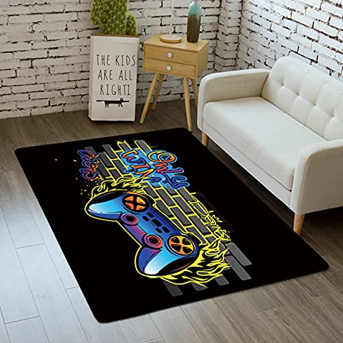 Modern Gamer Controlador 3D Alfombra Adolescente Niño Niña Sala de Estar Dormitorio Antideslizante Rug Graffiti Consola de Juegos Gamepad franela Decoración Carpet Mat (Negro 1,140x200 cm)