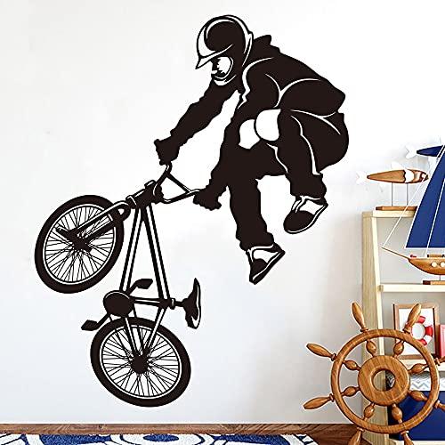 KAITANG Pegatina de pared para bicicleta BMX grande y extrema, para habitación de niños, habitación deportiva, bici de la suciedad y la bicicleta, decoración de vinilo para sala de juegos, 83 x 66 cm
