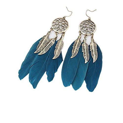 Demarkt 1pcs Boucles d'oreilles de personnalité en Plumes Cadeau De Fête des Mères, Femme Fille pour Saint-Valentin Boucles d'oreilles (Bleu) 10 * 2cm