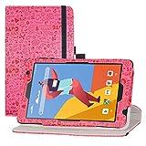 LFDZ Funda MatrixPad S8,Cuero Sintético Rotación de 360 Grados de Función de Soporte para 8' Vankyo MatrixPad S8 / Dragon Touch Notepad Y80 Tablet,Magenta