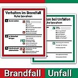 Schild Aushang Verhalten im Brandfall und Verhalten bei Unfällen als Set, 18x20cm, 7 Jahre Garantie, Premium-Aufkleber, ISO 7010, Betriebsaushang Notfallplan