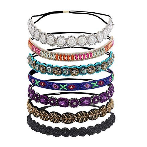 inSowni 7 unidades de diademas hechas a mano con cuentas de estrás, accesorios para el pelo, diademas para mujeres y niñas