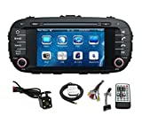 Car GPS Navigation System for KIA SOUL 2014 2015 Double Din Car Stereo DVD Player 7 Inch Touch Screen TFT LCD Monitor In-dash DVD Video Receiver with Built-In Bluetooth TV Radio, Support Factory Steering Wheel Control, RDS SD/USB iPod AV BT AUX IN+ Free Backup Camera + Free GPS Map of USA