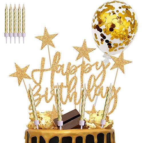 iZoeL Tortendeko Gold Happy Birthday Cake Topper Kerzen Konfetti Luftballon Sterne Cake Topper Kuchendeko Rosa Gold Geburtstag Dekoration