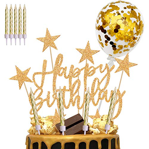 iZoeL Gold Cake Topper Decorations Happy Birthday Banner Star Cakecups Candle Confetti Balloon for Woman Man Girl Boy Birthday Party Favour Gold Theme Party Glitter Supplies (Gold)
