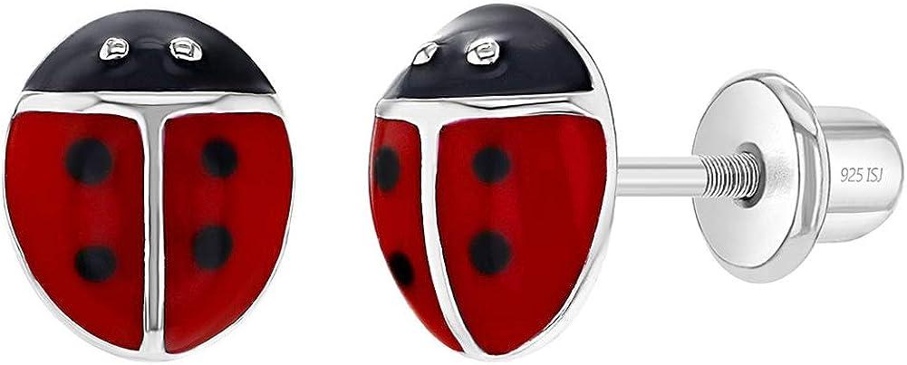In Season Jewelry Plata Fina 925 Pendientes con Cierre de Rosca en Forma de Mariquita Rojo Esmalte de 7 mm Excelente para Niñas Pequeñas, Niñas Pequeñas y amantes de las mariquitas